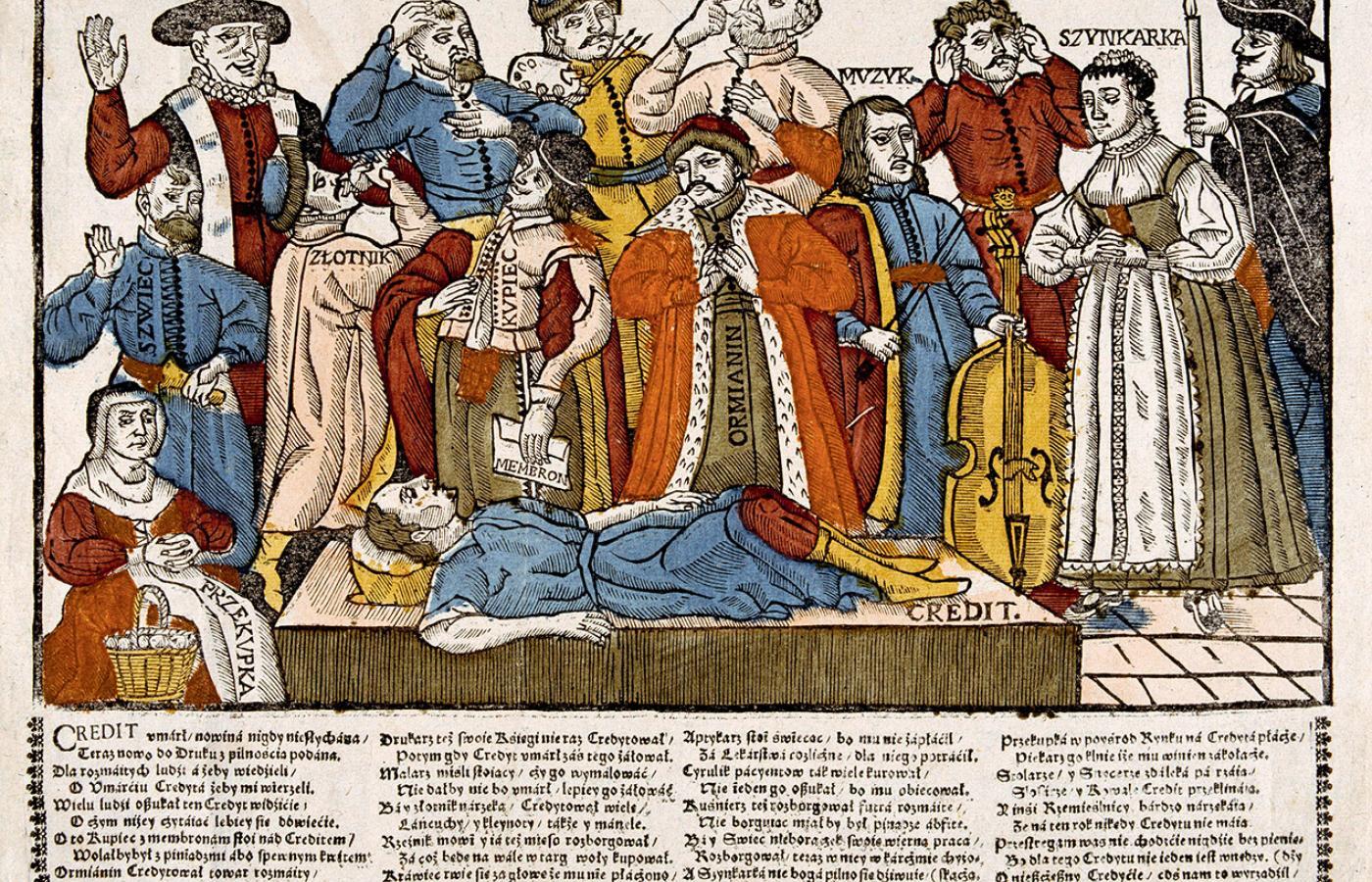 """""""Lament różnego stanu ludzi nad umarłym creditem""""; ilustracja z XVII w."""