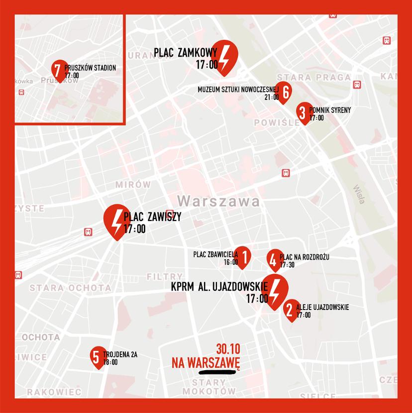 Plan warszawskiego protestu 30 października 2020 r.