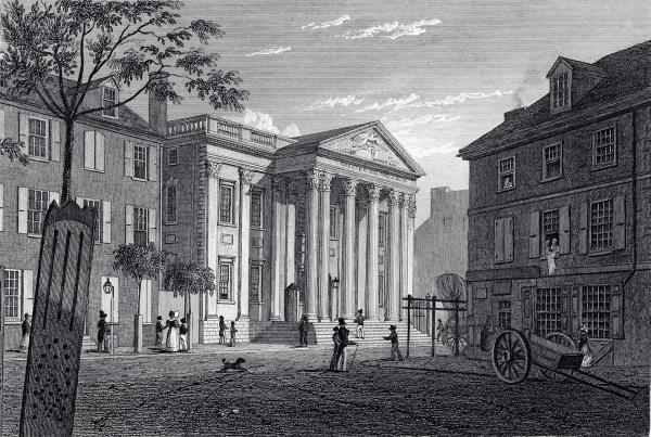 Siedziba First Bank of United States, Filadelfia; grafika z epoki.