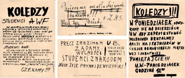Ulotki z marca 1968 r.