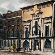 Egyptian Hall przy Piccadilly Circus w Londynie, akwatinta z XIX w.