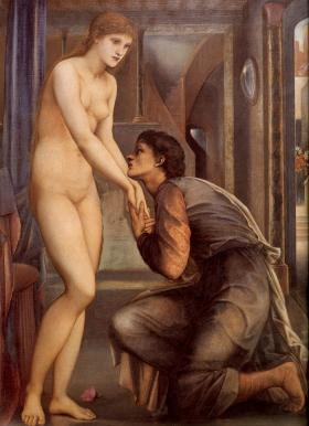Oryginał: Pygmalion and the Image The Soul Attains, 2nd Series (1878, Edward Burne-Jones)