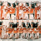 Scena uczty zachowana na malowidle w grobowcu Nebimena, czasy Nowego Państwa.