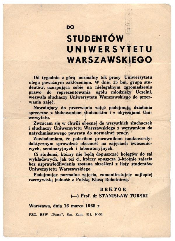Odezwa rektora UW do studentów z 16 marca 1968 r.