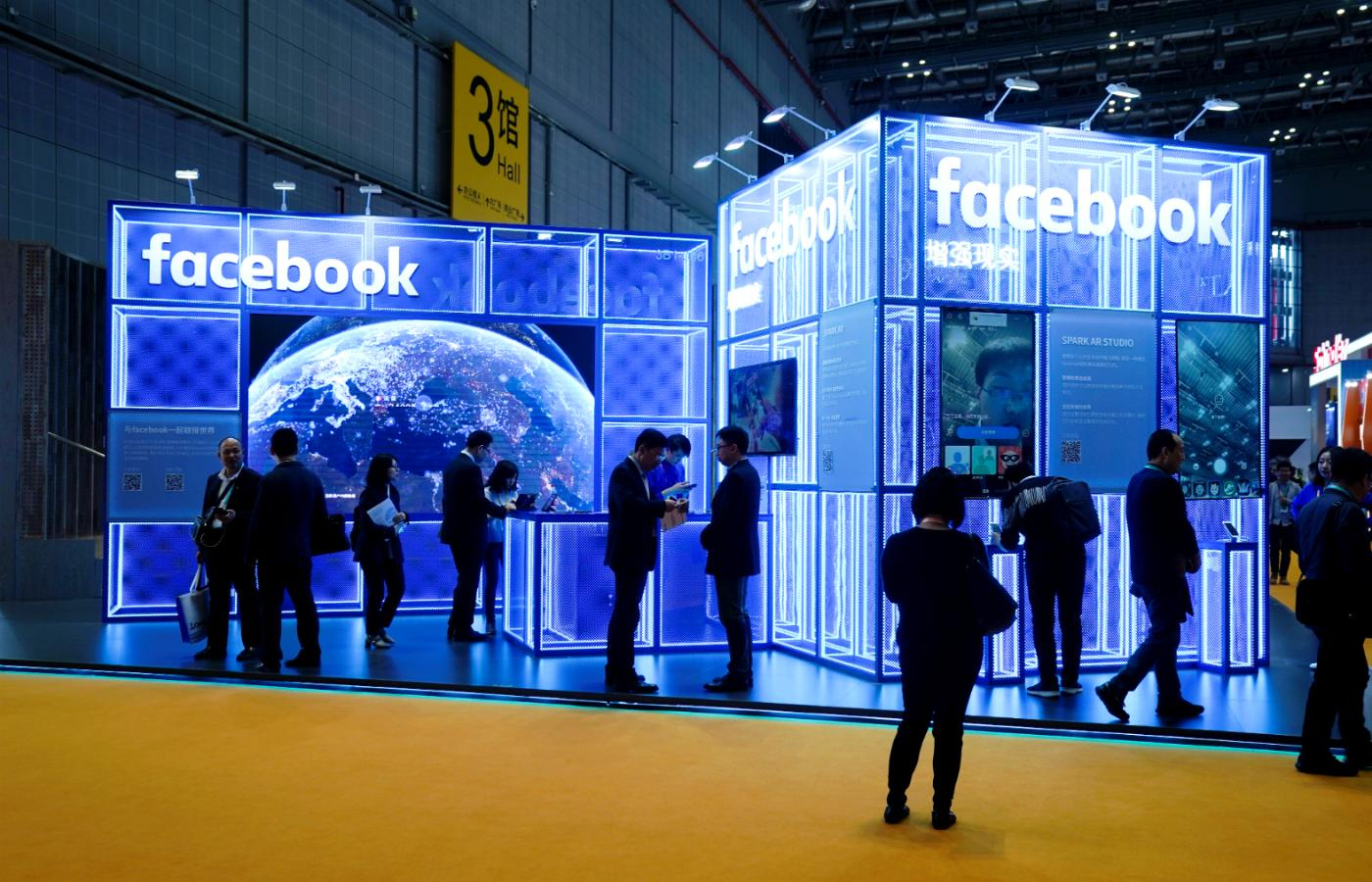 Facebook prezentuje się w ramach China International Import Expo w Szanghaju.