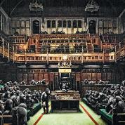 "Banksy, graffiti ""Devolved Parliament""."