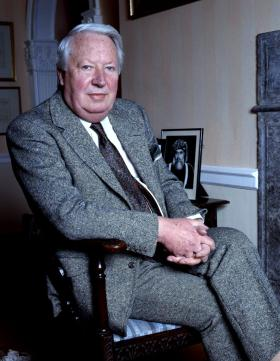 Edward Heath w domu w Salisbury, 1987 r.