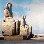 Monumentalne posągi faraona Amenhotepa III (nazywane kolosami Memnona), pozostałość świątyni milionów lat, która w swoich czasach była największą w Tebach Zachodnich, akwarela Davida Robertsa, XIX w.