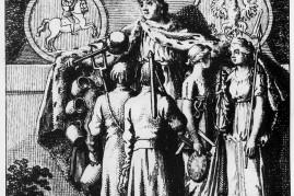 Alegoryczna rycina ukazująca króla otaczającego opieką wszytkie stany (aut. Daniel Chodowiecki).
