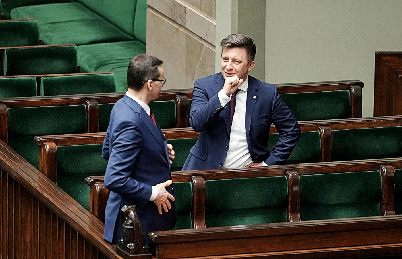 Mateusz Morawiecki i szef kancelarii premiera Michał Dworczyk